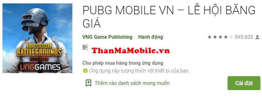 Cho nick PUBG Mobile VNG